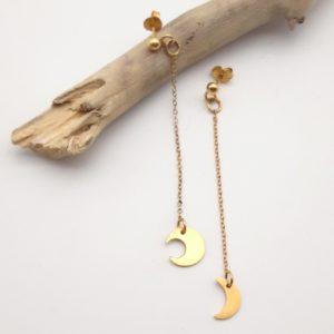 Boucle d'oreilles lune bijoux argent or lyon